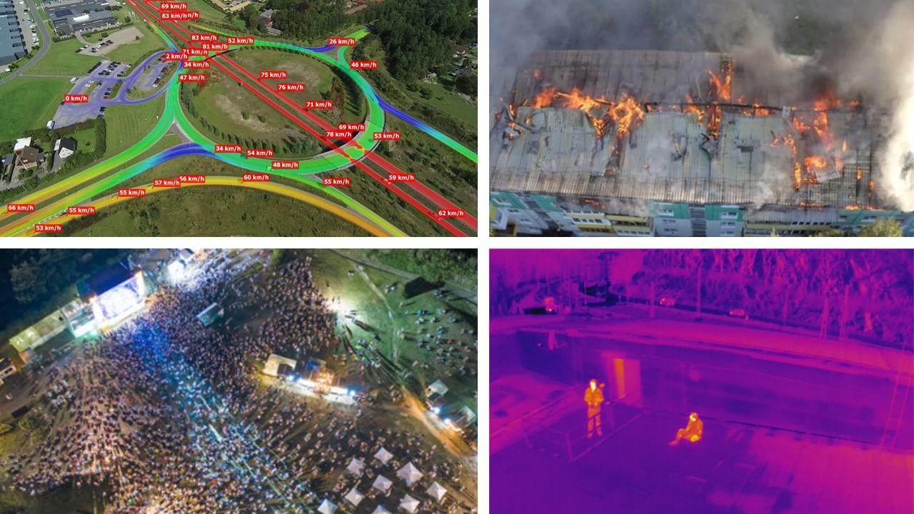 Drohne bei Verkehrszählung Personensuche Veranstaltung Brandbekämpfung