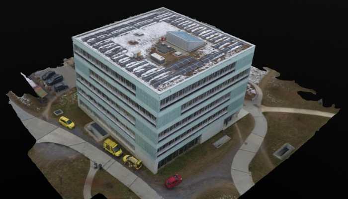 3D-Modell eines Bürogebäudes