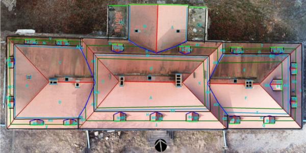 Dachfläche Vermessung 2x1